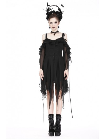 Dark in Love Black Gothic Chiffon Flounces Off-the-Shoulder Dress