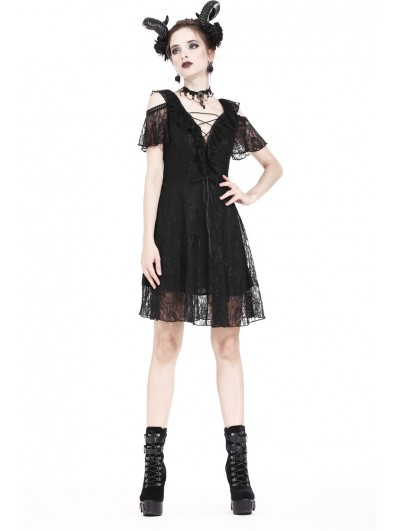 Dark in Love Black Gothic Off-the-Shoulder Daily Lace Short Dress