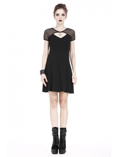 Dark in Love Black Gothic Punk Star Knitted Short Dress