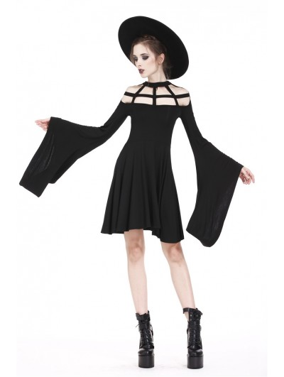 Dark in Love Black Gothic Punk Spider Web Short Dress