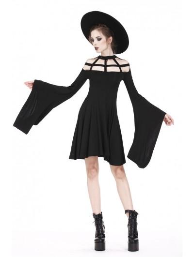 Dark in Love Black Gothic Punk Spider Web Short Dress