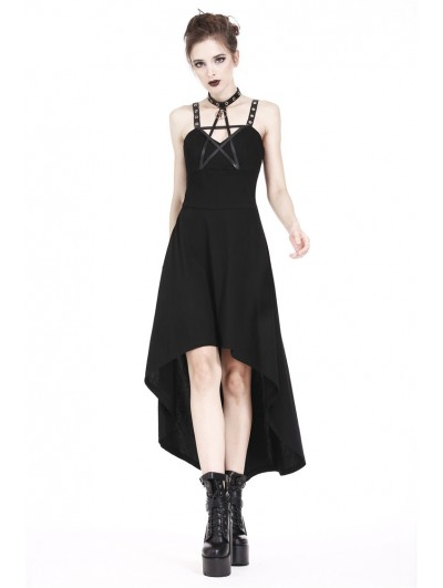 Dark in Love Black Gothic Punk Star High-Low Dress
