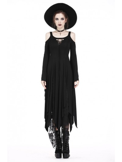 Dark in Love Black Romantic Gothic Irregular Long Dress