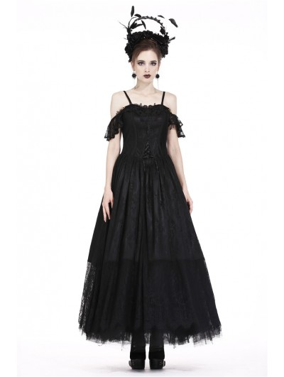 Dark in Love Black Gothic Gorgeous Off-the-Shoulder Lace Long Dress