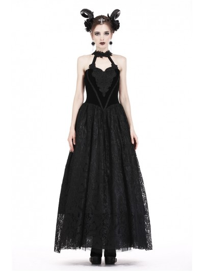 Dark in Love Black Gothic Noble Velvet Lace Long Dress