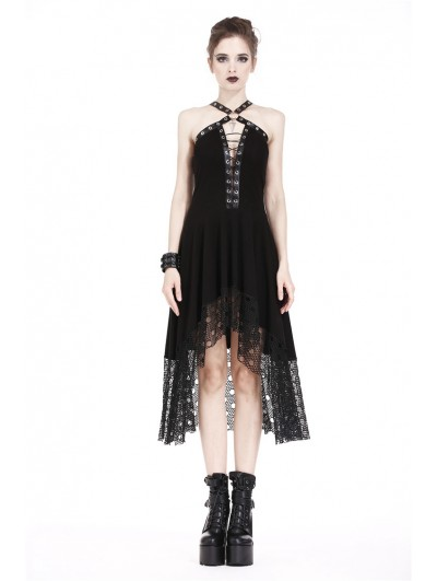 Dark in Love Black Sexy Gothic Punk Rivet High-Low Dress