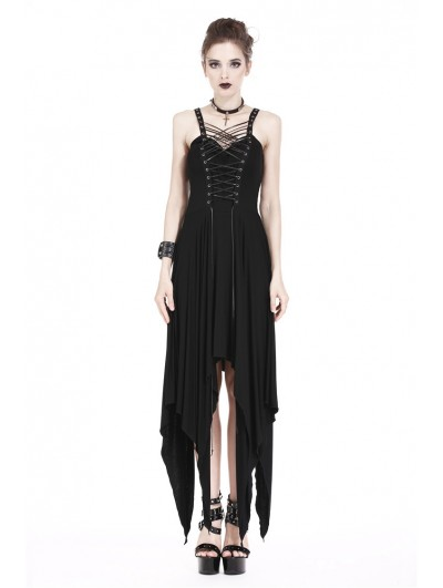 Dark in Love Black Gothic Punk Irregular Dress