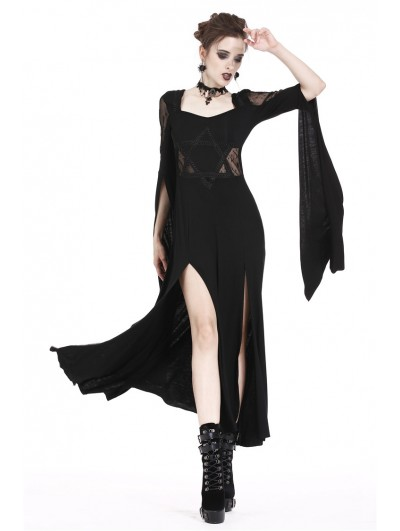 Dark in Love Black Gothic Long Dress with Star Hollow Out