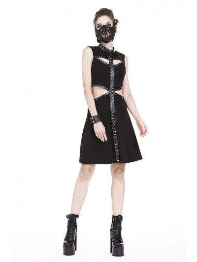 Dark in Love Black Gothic Punk Hollow Out Short Dress