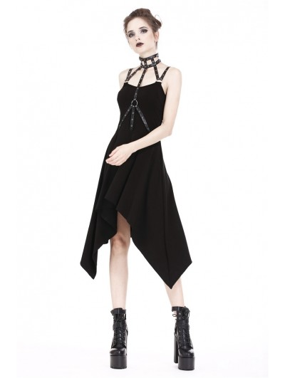 Dark in Love Black Gothic Punk Rivet Irregular Harness Dress