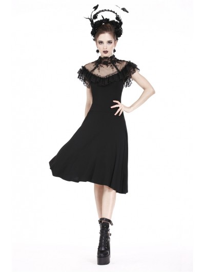 Dark in Love Black Gothic Lace Flower Dress