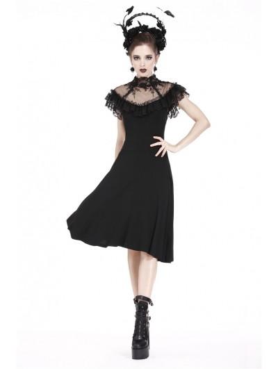 Dark in Love Black Gothic Lace Flower Dress