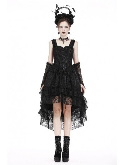 Dark in Love Black Gothic Lolita Lace High-Low Cocktail Dress