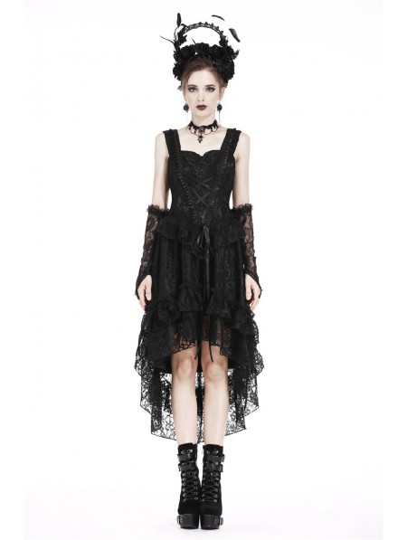 Dark In Love Black Gothic Lolita Lace High Low Cocktail Dress