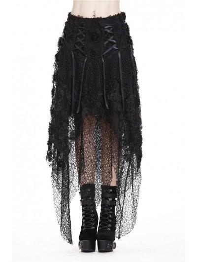 Dark in Love Black Gothic Flower and Mesh Irregular Skirt