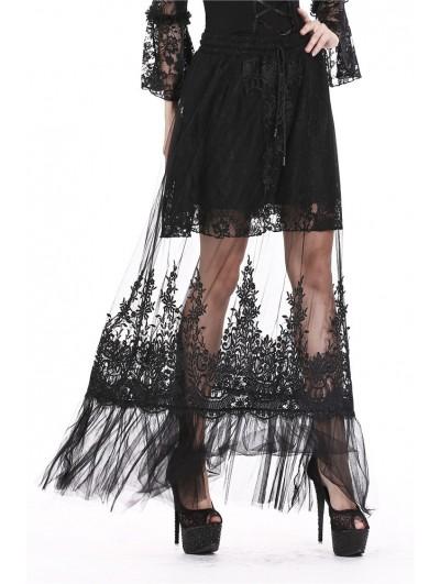 Dark in Love Black Gothic Lace Flower Long Skirt