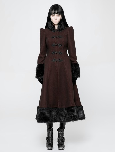 Punk Rave Red Gothic Daily Magic Woven Long Winter Coat for Women