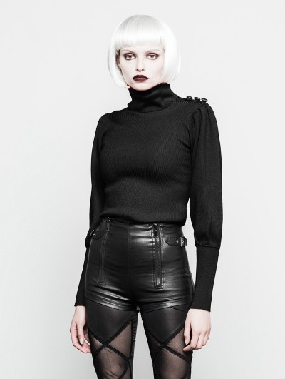 Punk Rave Black Gothic High Collar Court Sweater for Women