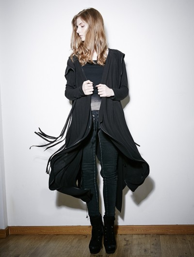 Punk Rave Black Irregular Gothic Hooded Trench Coat for Women
