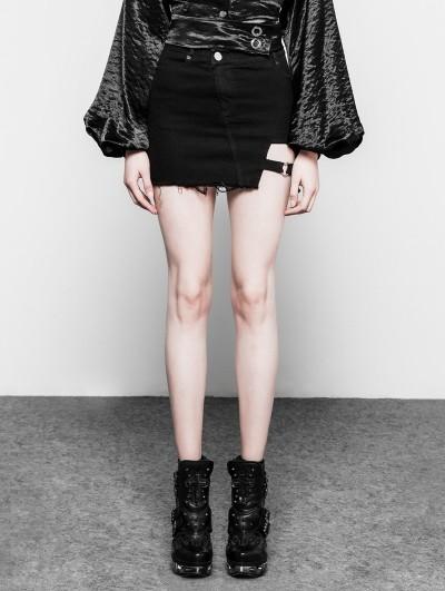 Punk Rave Black Gothic Punk Dark Heart Shape Short Denim Skirt for Women