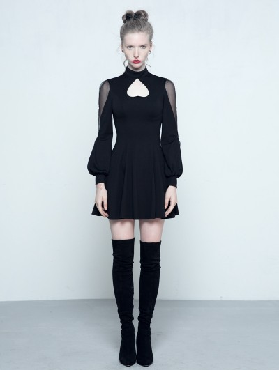 Punk Rave Black Gothic Long Sleeves Heart Shape Short Dress