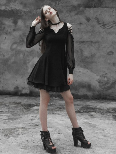 Punk Rave Black Gothic Strapless Corn Bandage V-collar Dress
