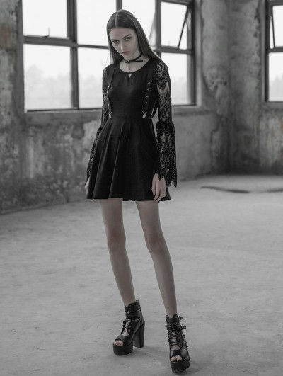 Punk Rave Black Gothic Lace Sleeves Hollow-out Fake Braces Dress