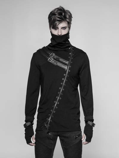 Punk Rave Black Gothic Punk Long Zipper Turtleneck T-Shirt for Men