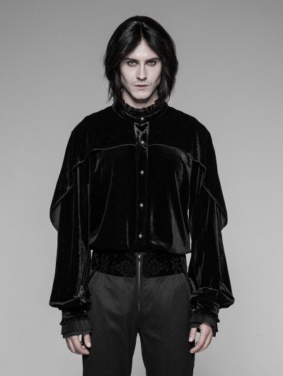Punk Rave Black Retro Palace Gothic Velvet Shirt for Men