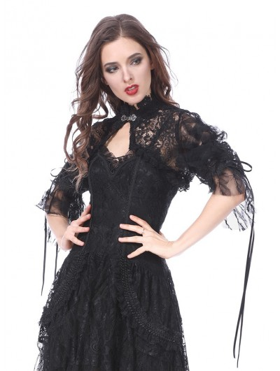 Dark in Love Black Gothic Lolita Gorgeous Lace Cape