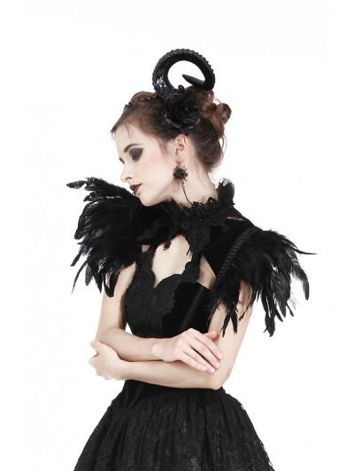 Dark in Love Black Gothic Feather Velvet Two Wear Cape