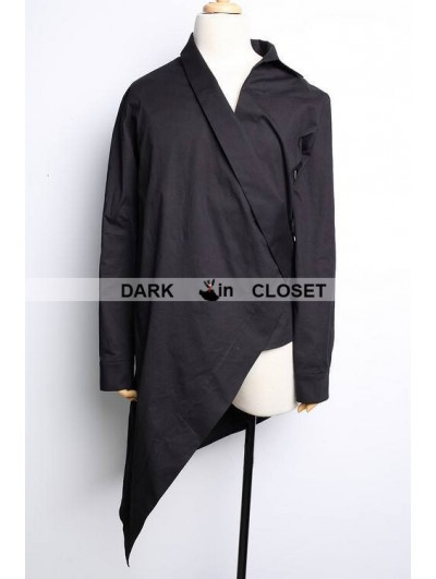 Pentagramme Black Cotton Long Sleeves Gothic Blouse for Men