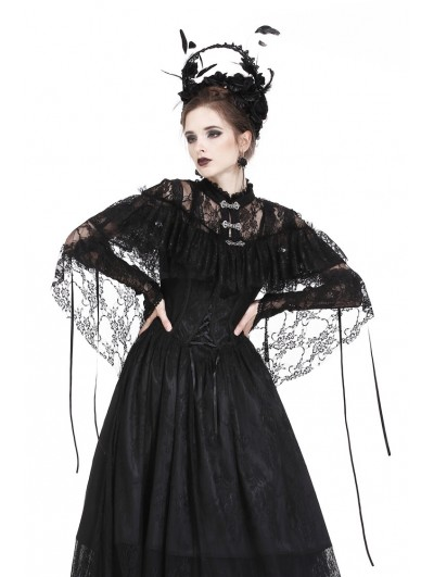 Dark in Love Black Gothic Lace High-Low Cape