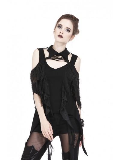 Dark in Love Black Gothic Punk Off-the-Shoulder T-Shirt for Women