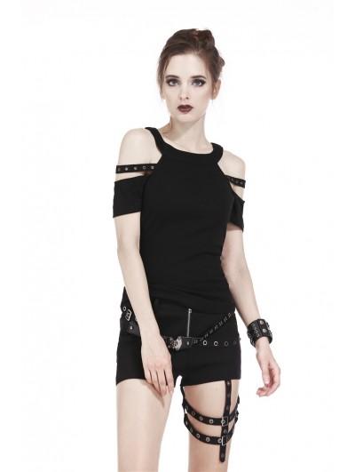 Dark in Love Black Gothic Punk Short Sleeves T-Shirt for Women