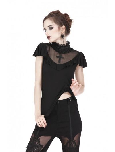 Dark in Love Black Gothic Cross Short Sleeves T-Shirt for Women
