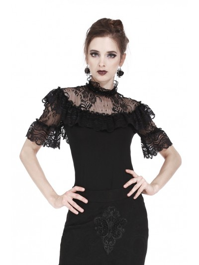 Dark in Love Black Romantic Gothic Lace Short Sleeves T-Shirt for Women