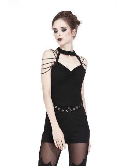 Dark in Love Black Gothic Punk String Shoulder T-Shirt for Women