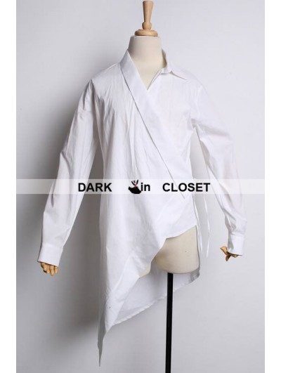 Pentagramme White Cotton Long Sleeves Gothic Blouse for Men