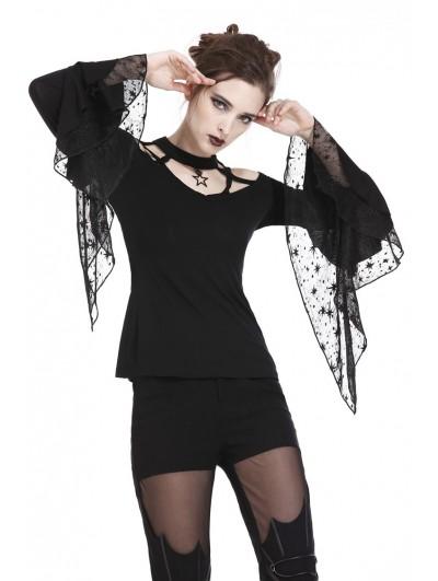 Dark in Love Black Romantic Gothic Star T-Shirt for Women