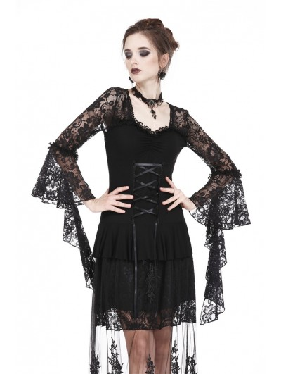 Dark in Love Black Romantic Long Sleeves Gothic Lace T-Shirt for Women
