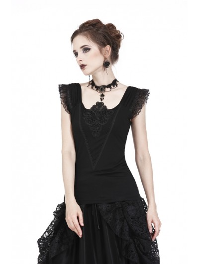 Dark in Love Black Gothic Lace Applique Shirt for Women