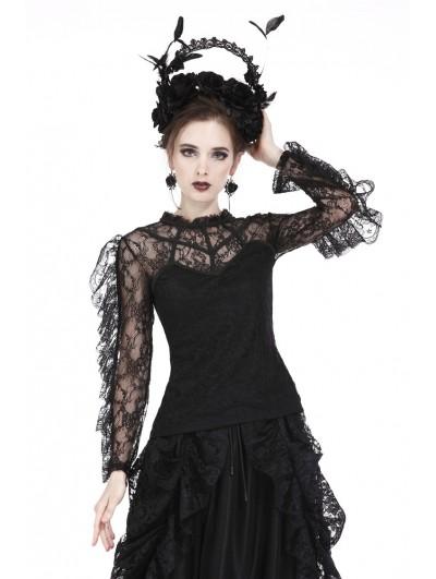 Dark in Love Black Gothic Flouncing Long Sleeves T-Shirt for Women