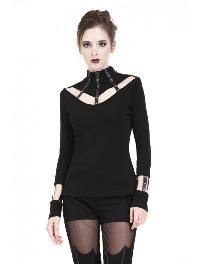Dark in Love Black Gothic Punk Long Sleeves T-Shirt for Women