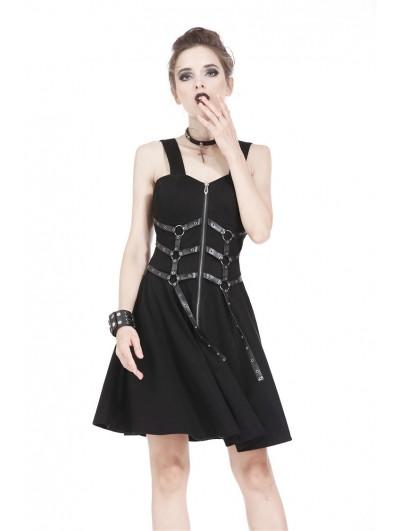 Dark in Love Black Gothic Punk Leather Belt Dress