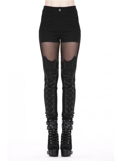 Dark in Love Black Gothic Punk Bat Pattern Legging Pants for Women