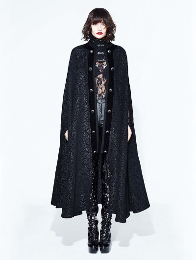 Devil Fashion Black Gothic Long Cape Cloak for Women