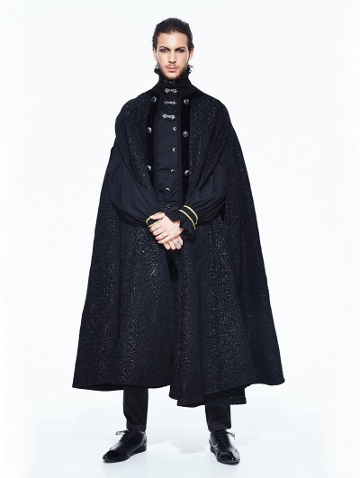 Devil Fashion Black Gothic Long Cape Cloak for Men