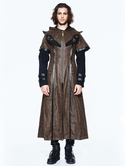 Devil Fashion Coffee Steampunk Long Hooded Cape Coat for Men