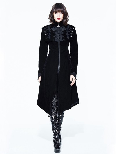 Devil Fashion Black Vintage Velvet Gothic Long Cape Coat for Women